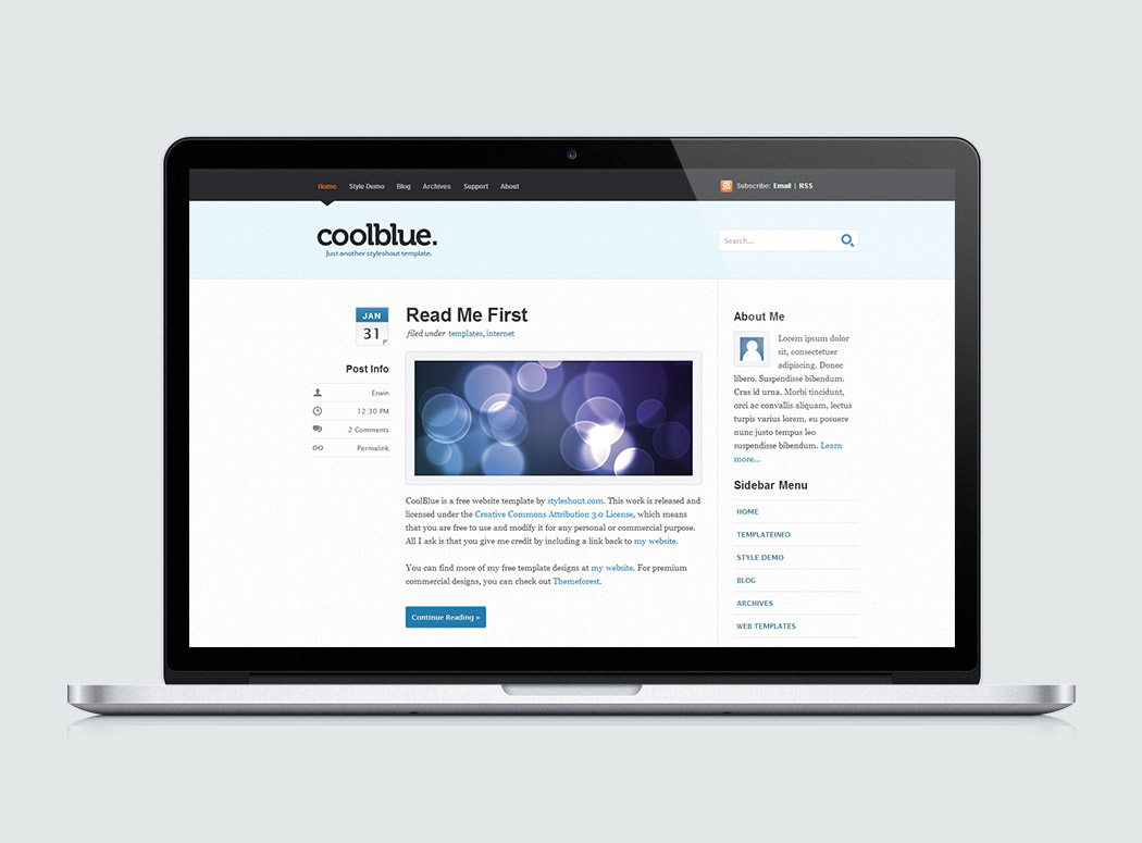 Coolblue | High-Quality Free Website Template by Styleshout